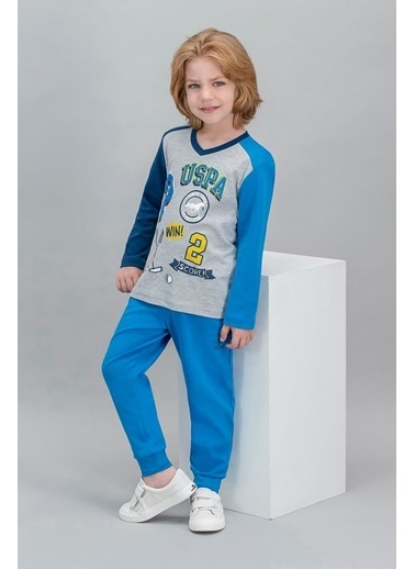 U.S. Polo Assn. U.S. Polo Assn Lisanslı Krem Erkek Çocuk Pijama Takımı Gri
